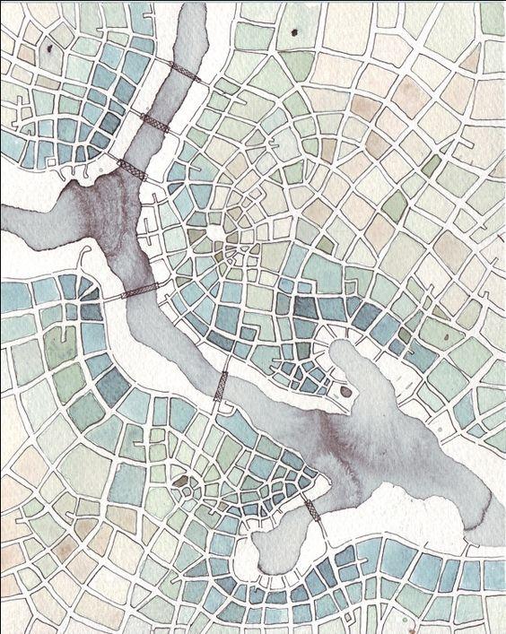 Emily Garfield. Patchwork Fields (Cityspace #145). Ink wash, pen, watercolor.