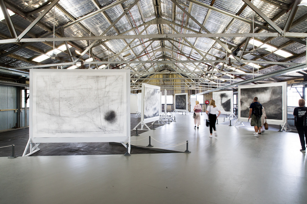Emma McNally, Choral Fields 1–12, 2014–16 graphite on paper, 214 x 304 cm each. Installation view (2016) at Cockatoo Island for the 20th Biennale of Sydney
