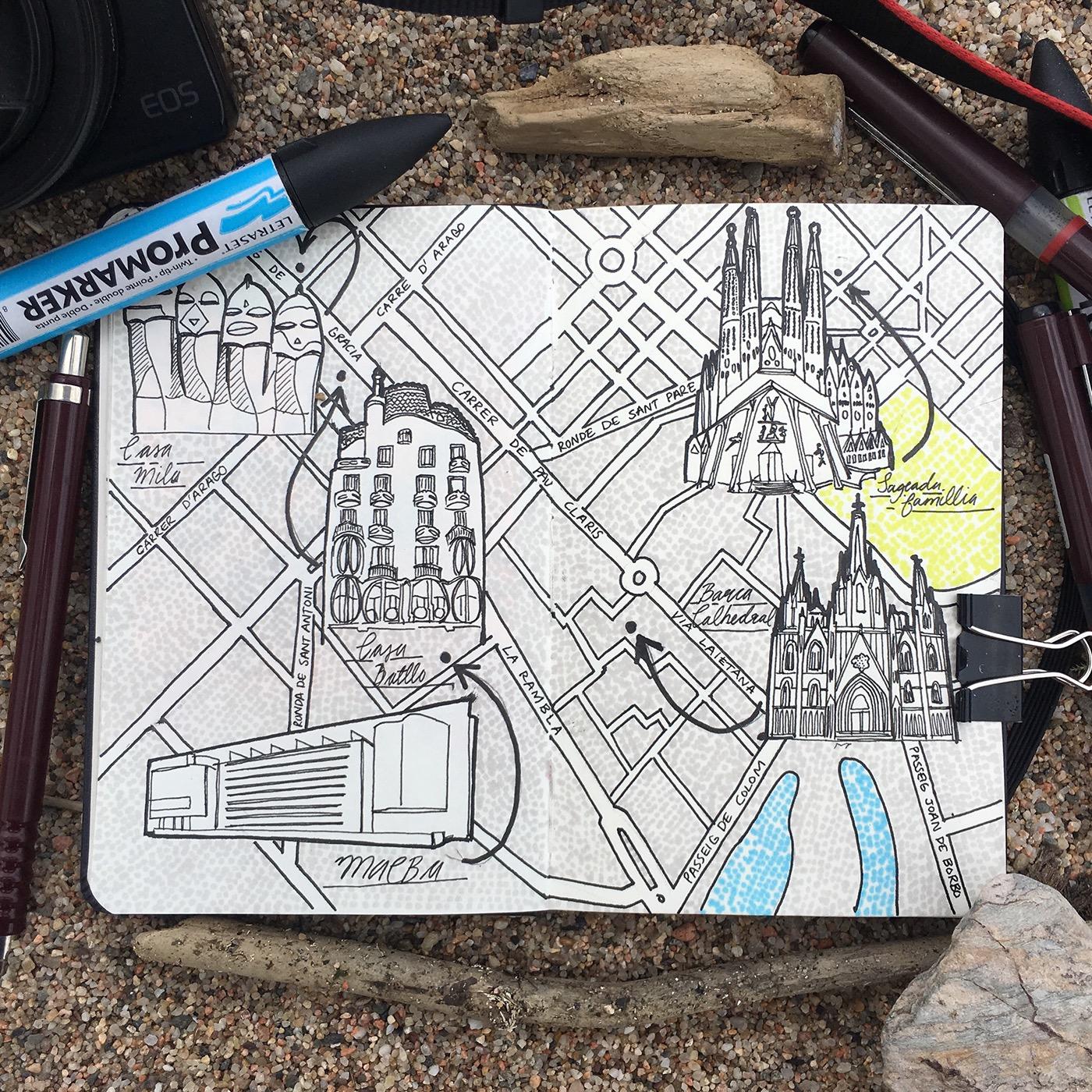 Jitesh Patel, City Map Drawings, Barcellona, 2017