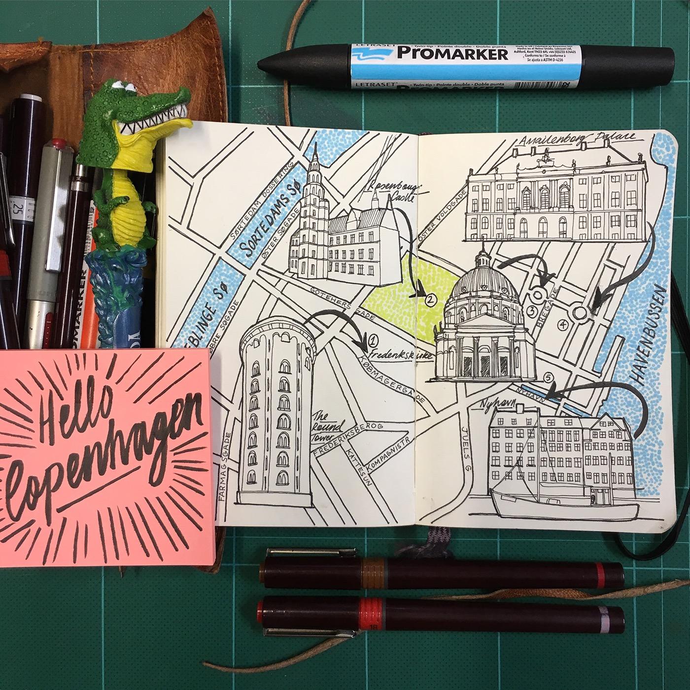 Jitesh Patel, City Map Drawings, Copenhagen, 2017