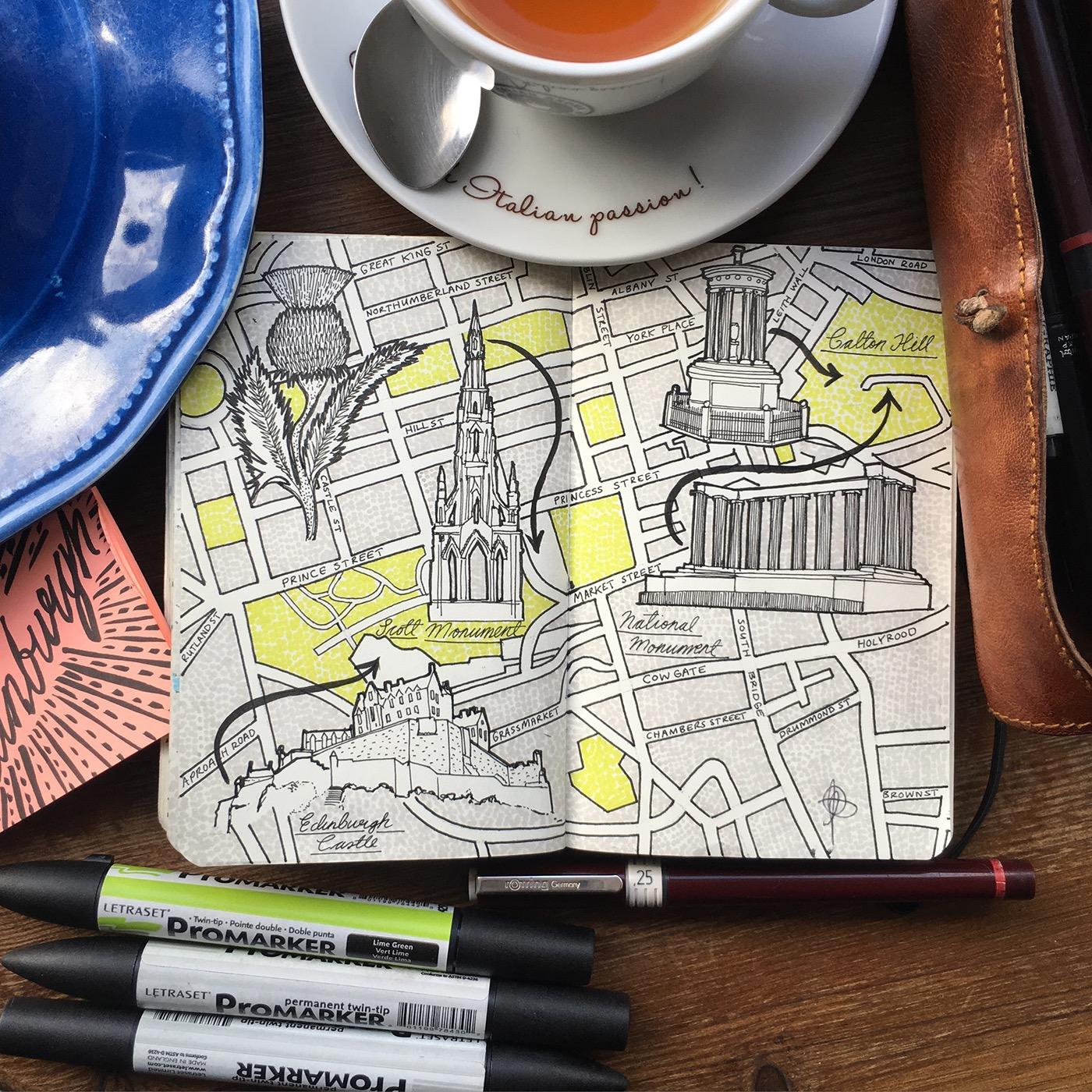 Jitesh Patel, City Map Drawings, Edinburgh, 2017