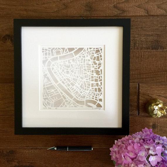 Karen O'Leary, London hand-cut map