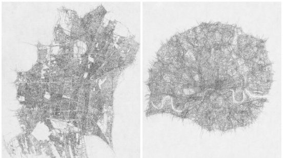 Kathy Prendergast, City Drawings Series Tehran and London, 1997