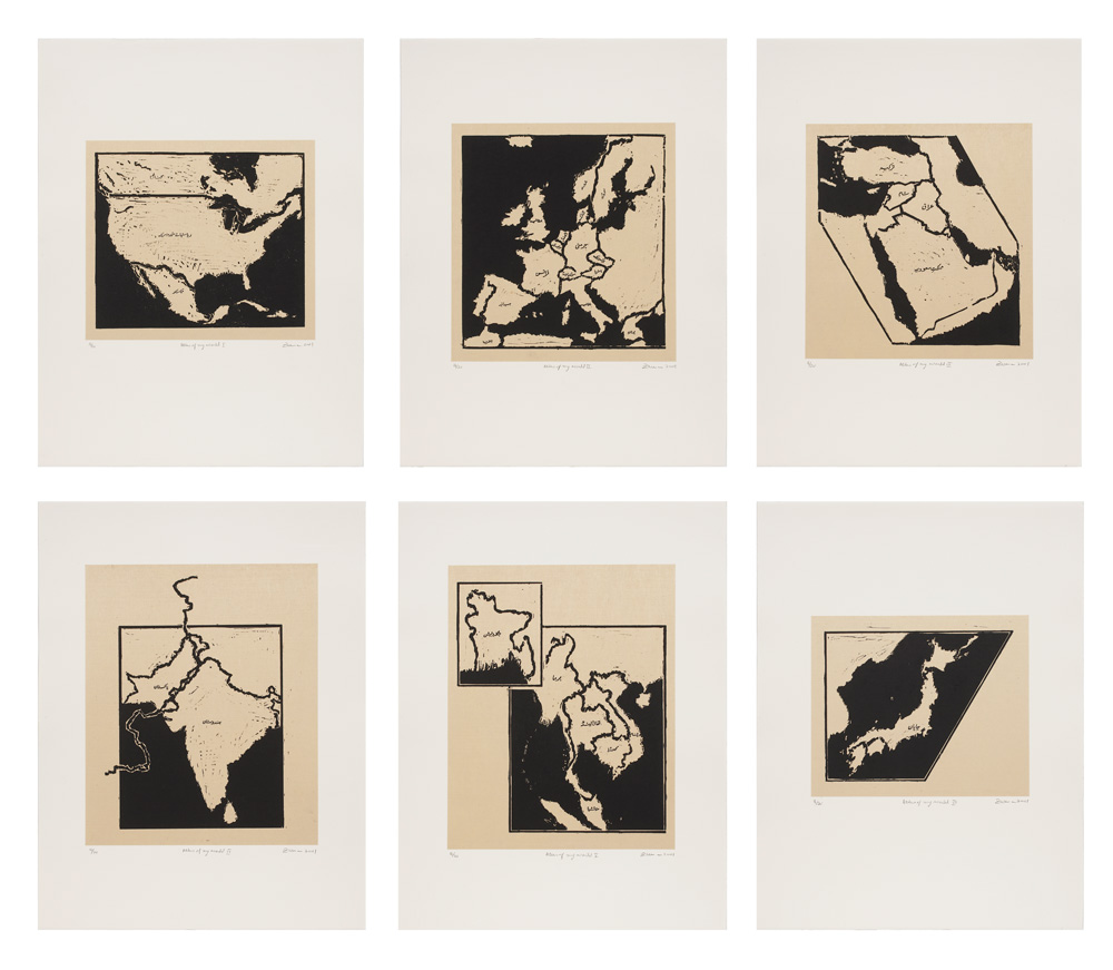 Zarina Hashmi, Atlas of my world I-VI (6 works) , 2001